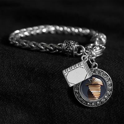 Book Stack Silver Braided Clasp Charm Bracelet