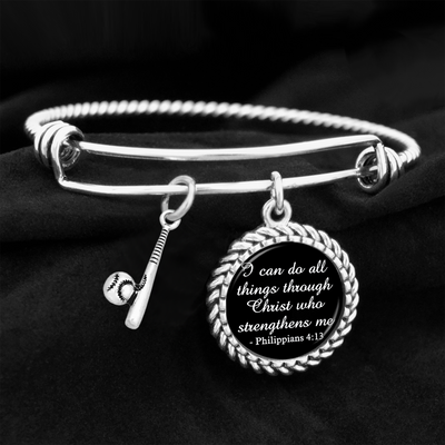 Bat & Ball I Can Do All Things Through Christ Who Strengthens Me Charm Bracelet