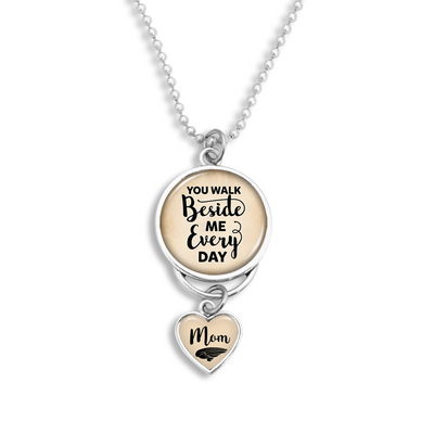 Mom You Walk Beside Me Every Day Rearview Mirror Charm