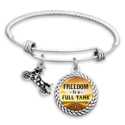 Freedom Is A Full Tank Motorcycle Charm Bracelet