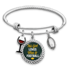 This Girl Loves Wine And Football Green Bay Charm Bracelet