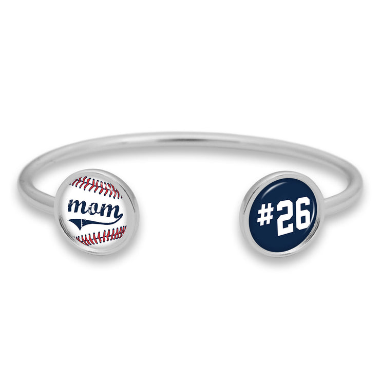 Baseball Mom Custom Number Duo Cuff Bracelet