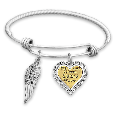 Love Between Sisters Crystal Wing Engraved Charm Bracelet