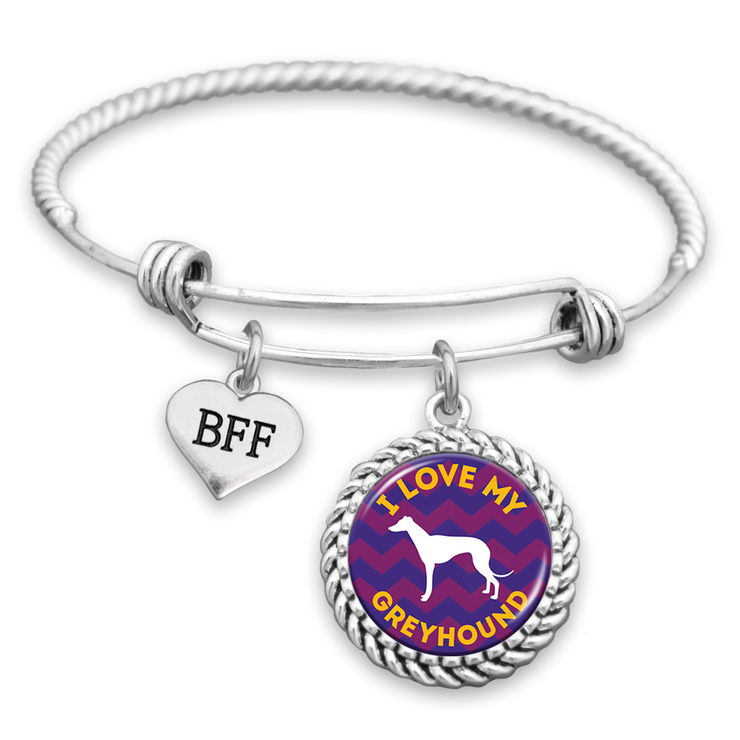 I Love My Greyhound BFF Charm Bracelet