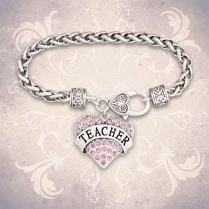 Teacher Heart Clasp Bracelet