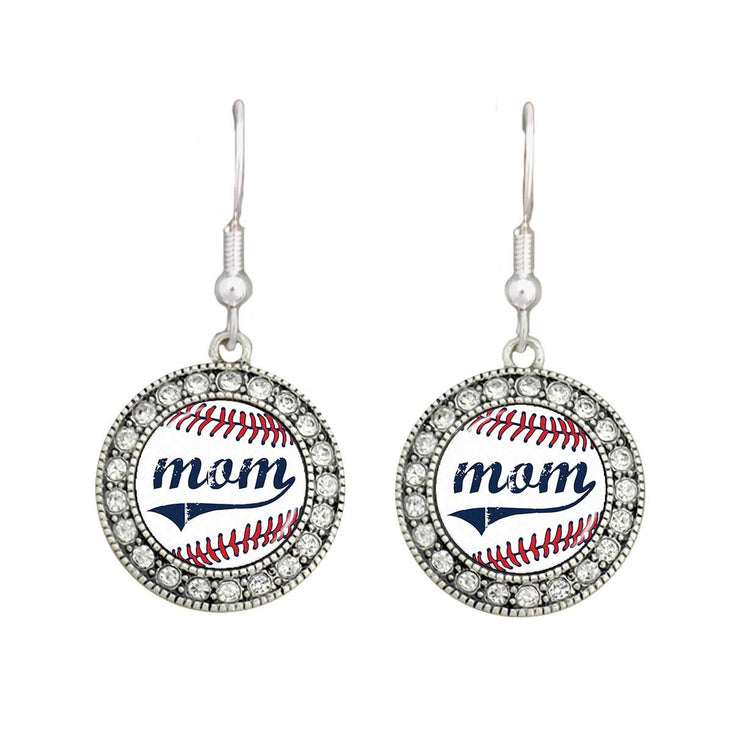 Baseball Mom Crystal Circle Earrings