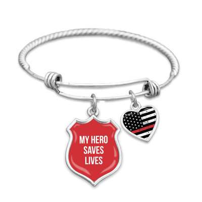 My Hero Saves Lives Thin Red Line Charm Bracelet