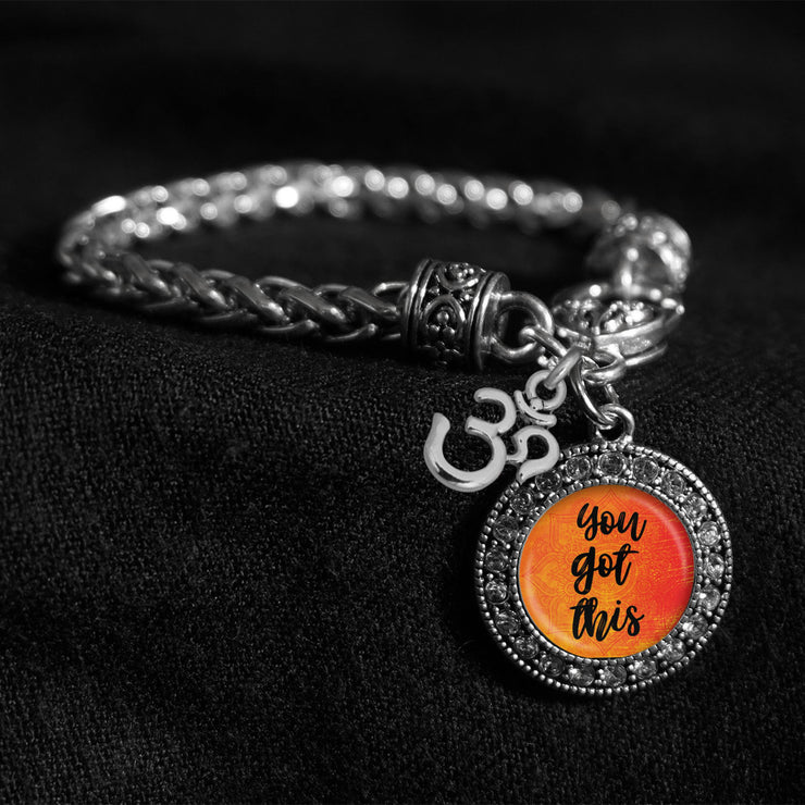 You Got This Silver Braided Clasp Charm Bracelet