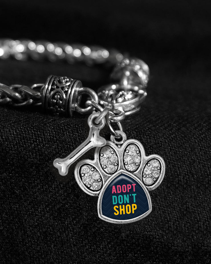 Adopt Don't Shop Paw Silver Braided Clasp Charm Bracelet