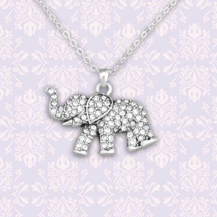 Elephant Crystal Charm Necklace