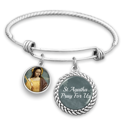 St. Agatha Pray For Us Charm Bracelet