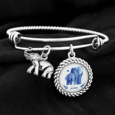Watercolor Elephant Love Elephant Charm Bracelet