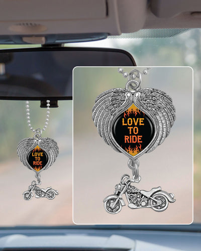 Love To Ride Motorcycle Wings Rearview Mirror Charm