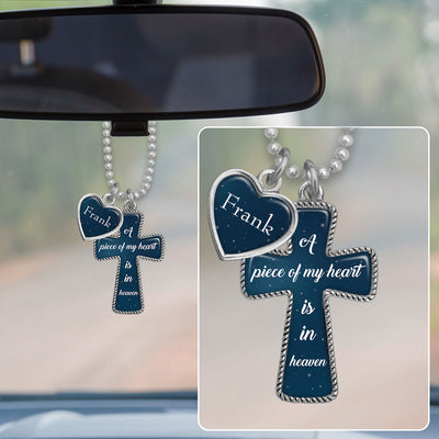 Customizable Piece Of My Heart Night Sky Cross Rearview Mirror Charm