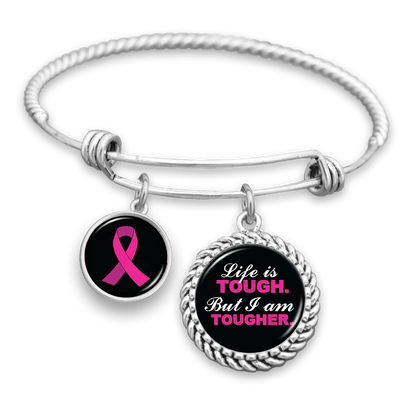 Life Is Tough, But I Am Tougher Breast Cancer Awareness Charm Bracelet