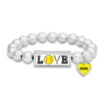 Customizable Softball LOVE Icons Silver Bead Bracelet