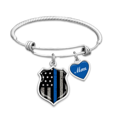 Police Mom Thin Blue Line Charm Bracelet