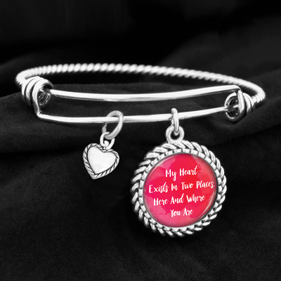 My Heart Exists In Two Places Charm Bracelet