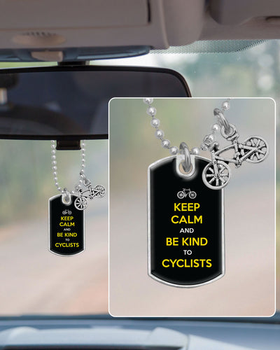 Be Kind To Cyclists Dog Tag Rearview Mirror Charm