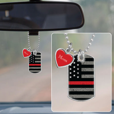 Customizable Thin Red Line Flag Dog Tag Rearview Mirror Charm