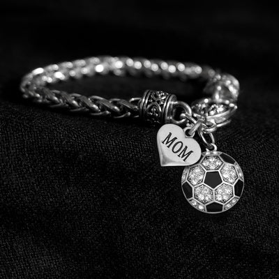 Mom Heart and Crystal Soccer Ball Silver Braided Clasp Charm Bracelet
