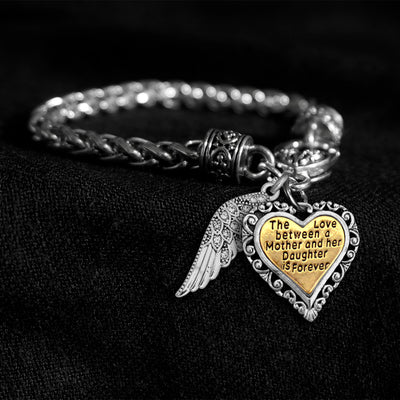 Love Between Mother And Daughter Crystal Wing Engraved Silver Braided Clasp Charm Bracelet