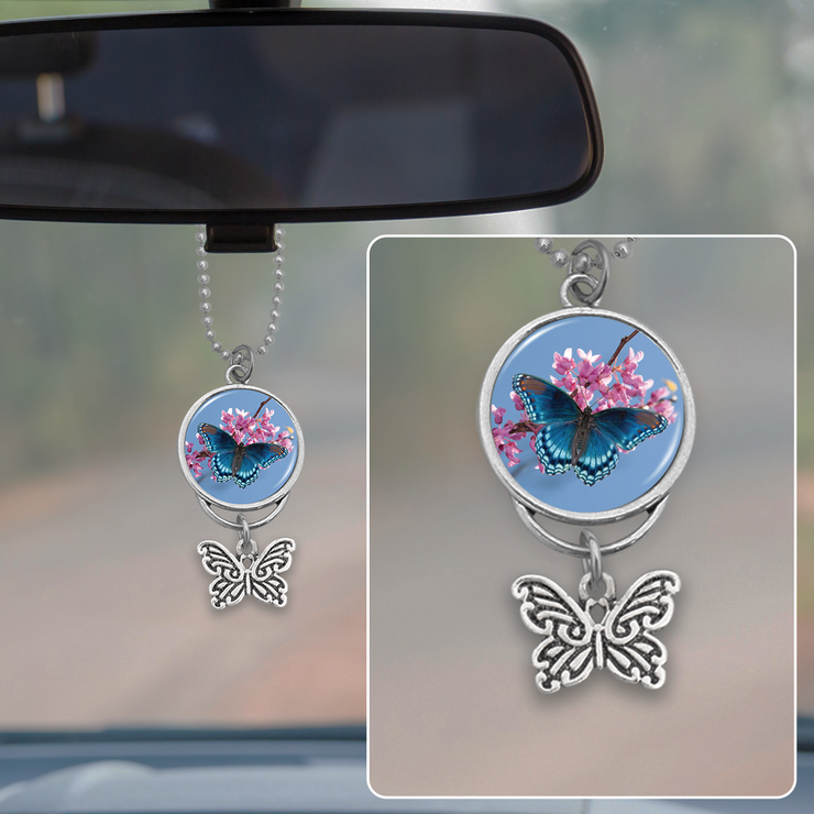 Blue Butterfly Rearview Mirror Charm
