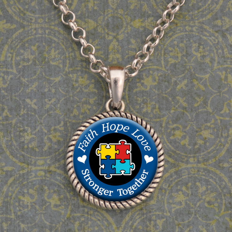Autism Awareness Stronger Together Necklace