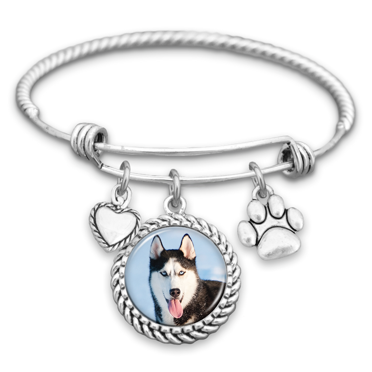 Husky Dog Photo Charm Bracelet
