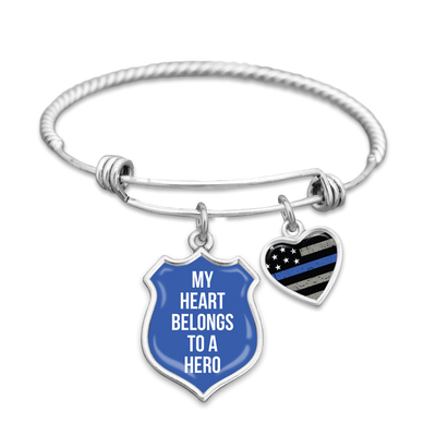 My Heart Belongs To A Hero Thin Blue Line Charm Bracelet