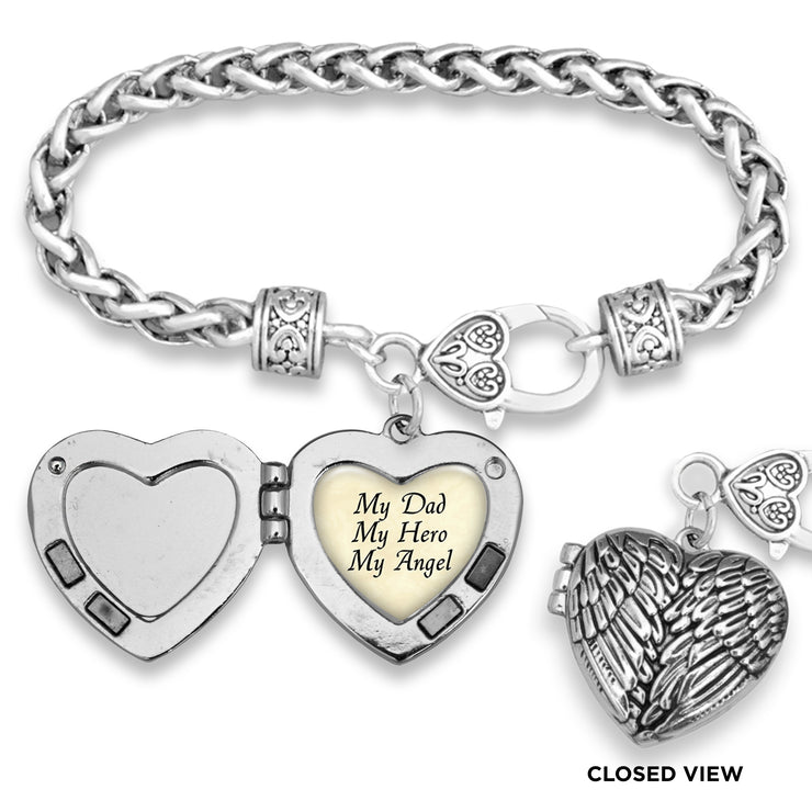 My Dad My Hero My Angel Parchment Wing Locket Silver Braided Clasp Bracelet