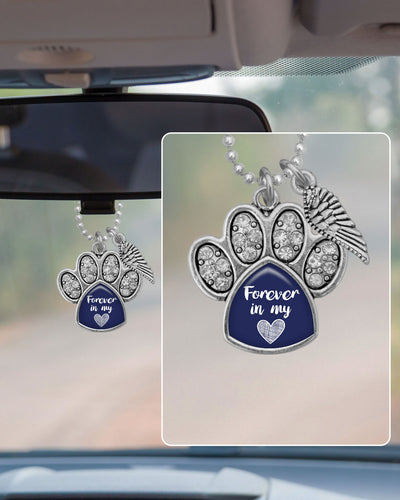 Forever In My Heart Crystal Paw Rearview Mirror Charm