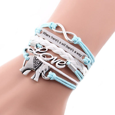 Where There's A Will There's A Way Elephant Infinity Love Bracelet