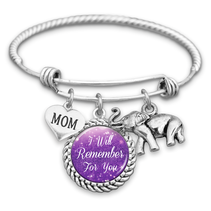 Customizable Family Member I Will Remember You Alzheimer's Awareness Charm Bracelet