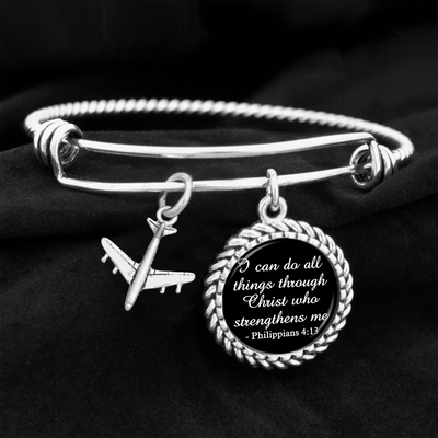 Airplane I Can Do All Things Through Christ Who Strengthens Me Charm Bracelet