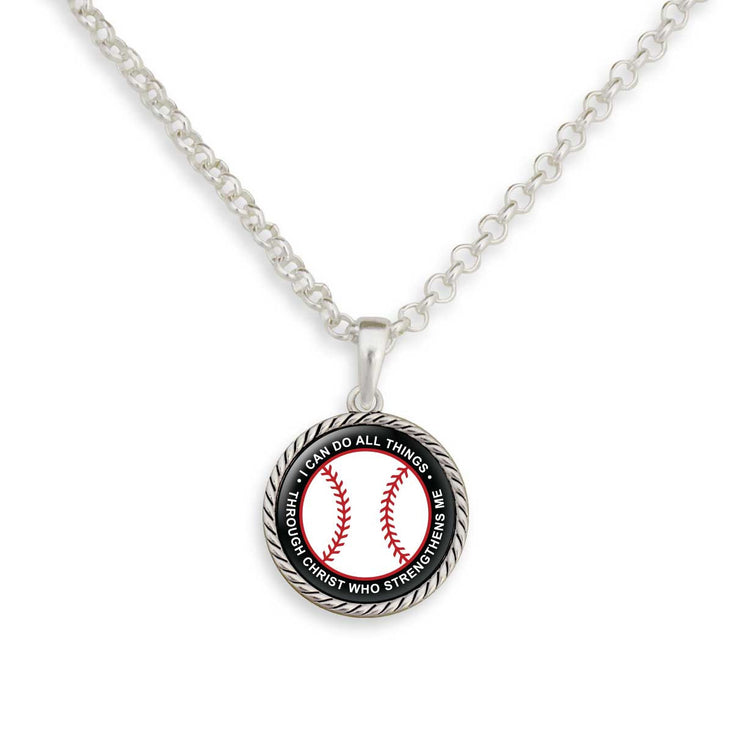 I Can Do All Things Through Christ Baseball Necklace
