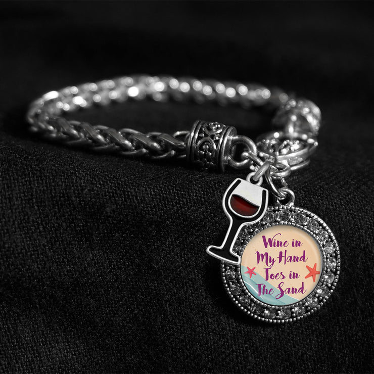 Wine In My Hand, Toes In The Sand Silver Braided Clasp Charm Bracelet
