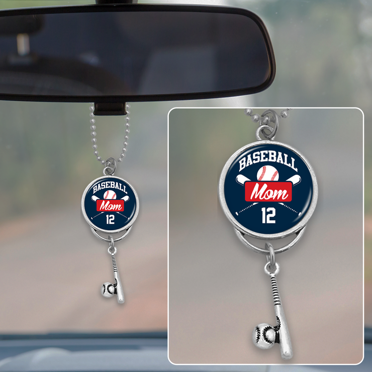Custom Number Baseball Mom Rearview Mirror Charm