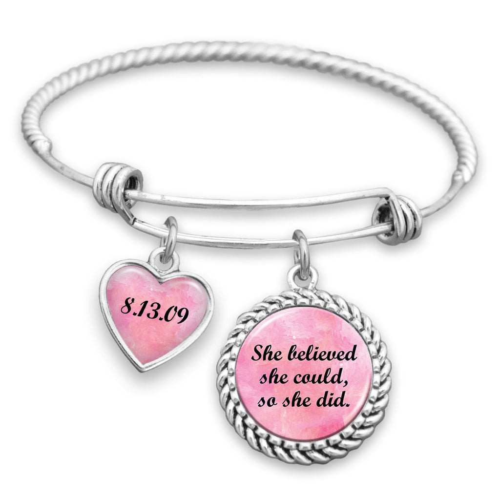 She Believed She Could, So She Did Personalized Sobriety Date Charm Bracelet