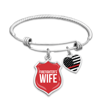 Firefighter's Wife Thin Red Line Charm Bracelet