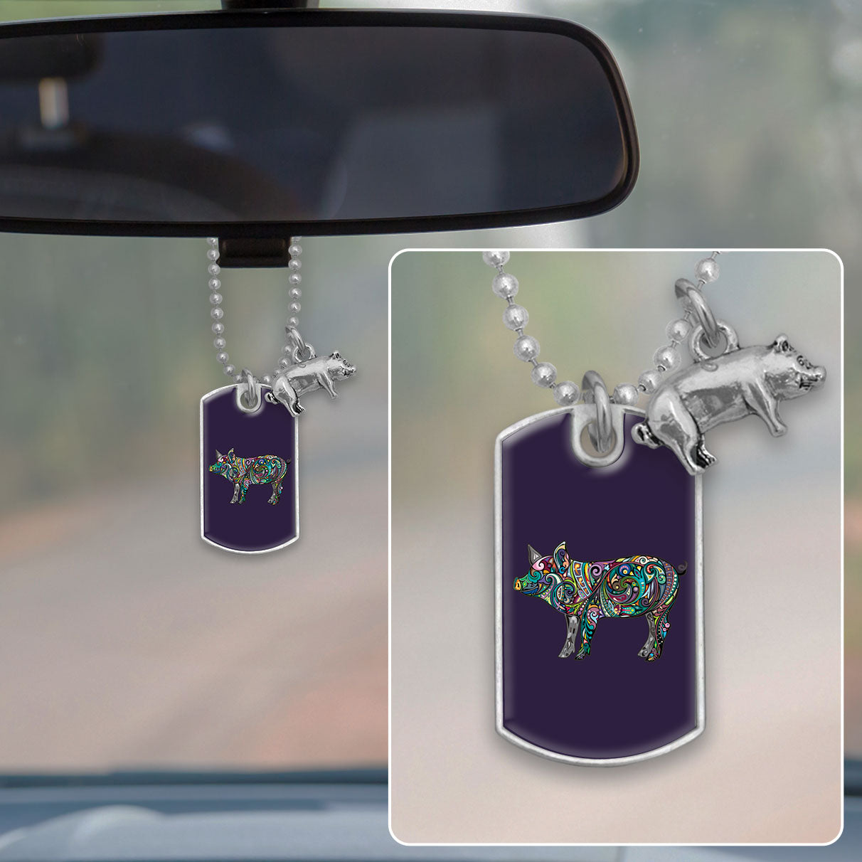 Pig Colorful Swirl Dog Tag Rearview Mirror Charm