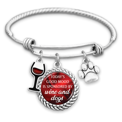 Today's Good Mood Is Sponsored By Wine And Dogs Charm Bracelet