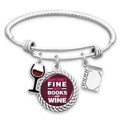 Everything's Fine With Books And Wine Charm Bracelet