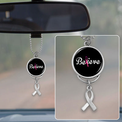 Believe Breast Cancer Awareness Rearview Mirror Charm