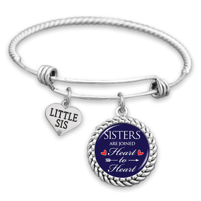 Sisters Are Joined Heart To Heart Charm Bracelet