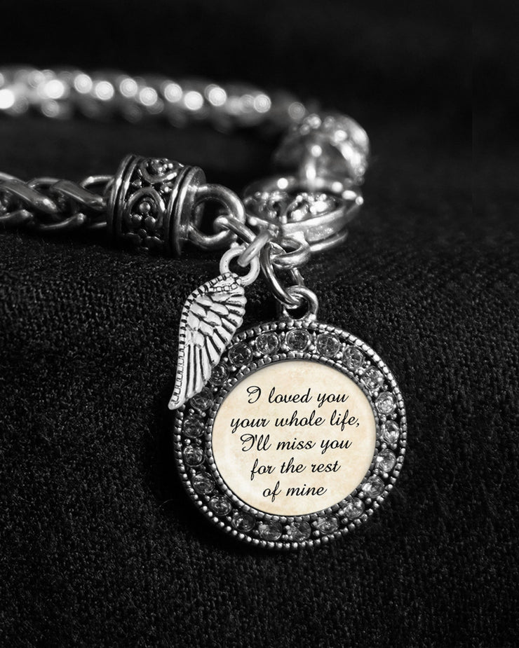 Your Whole Life Wing Silver Braided Clasp Charm Bracelet