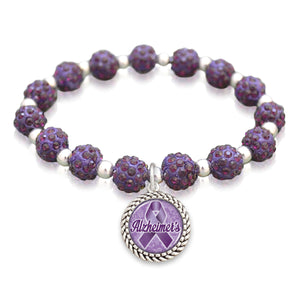 Alzheimer's Awareness Ribbon Crystal Stretch Bracelet