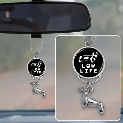 Low Life Dachshund Rearview Mirror Charm
