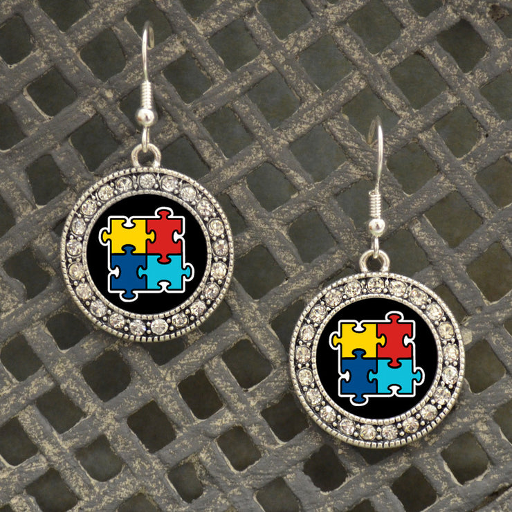 Autism Awareness Crystal Circle Earrings