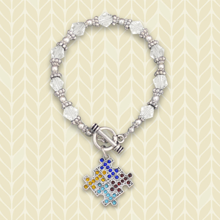 Autism Awareness Crystal Beaded Bracelet
